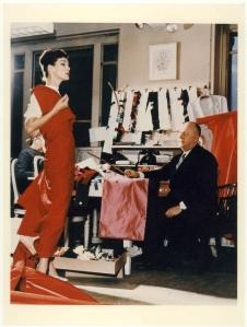 Christian Dior with model Lucky, circa 1955. Courtesy of Christian Dior.